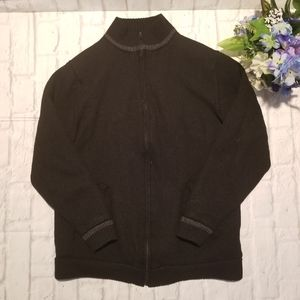 Eddie Bauer Jacket L Black Tall Zipped Sweater